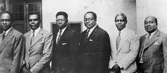 The Big Six- From Left: Kwame Nkrumah, Obetsebi Lamptey, Arko-Adjei, Akufo-Addo, JB Dankwa & William Ofori-Atta
