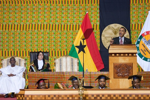 President Obama adresses the  Parliament in Accra, Ghana July 11, 2009.  (Official White House Photo by Chuck Kennedy)