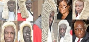 The 9-member Supreme Court Justices: From top left: Justice Annin-Yeboah, Justice Julius Ansah, Justice Vida Akoto-Bamfo, Justice Sophia O. Adinyira. Down Left: Victor Jones Dotse, Justice Rose C. Owusu, Justice Baffoe Bonnie, Justice Nasiru Sulemana Gbadegbe. Middle: Justice William Atuguba