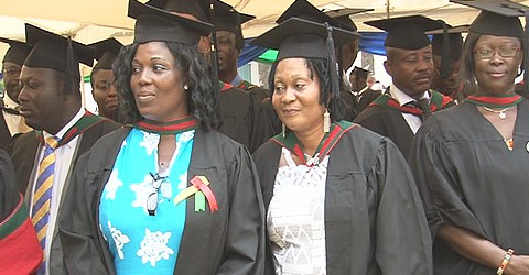 First Lady Lordina Mahama (middle), graduated with an MBA in Governance and Leadership.