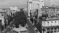The Paseo de Marti (formerly Prado Boulevard), the dividing line between old and modern Havana, circa 1960