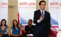 Ed Miliband launches Labour's local election campaign in Birmingham by saying the party would repeal the health reforms if it returned to government. Photograph: David Jones/PA