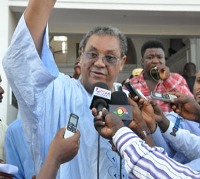 Jake Obetsebi-Lamptey speaks to the media after the 6-3 judgment in favour of him yesterday.