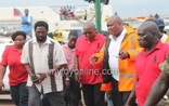 President Mahama (middle) inspecting the place with some officials