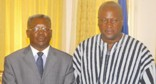 Photo Reporting: Prez John Mahama (R) & Justice Yaw Appau, the Sole Commissioner