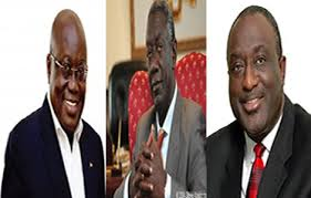 Photo Reorting: J.A. Kufuor flanked by Nana Akufo-Addo [L] & Alan Kyeremateng[R)