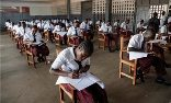 Liberian students sitting university entrance exams at GW Gibson high school in Monrovia, Liberia. Photograph: Ahmed Jallanzo/EPA