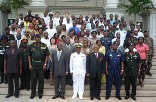 Mr Emmanuel Ofosu Appiah in a group picture with Lt Gen Smith together with workers of the ministry of defence