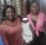Good Samaritans, Shirley (left) and Jennifer wiith the baby