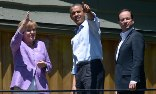 Angela Merkel, Barack Obama, and François Hollande at the G8 summit. Photograph: Brendan Smialowski/AFP/Getty Images